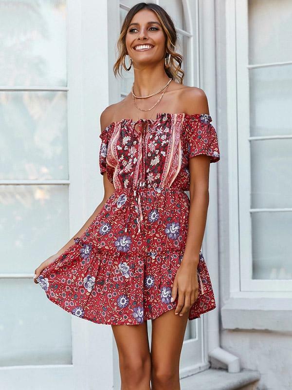 new concept dc13b 0fe30 Elegante abito vestito morbido corto boho bohemian hippie ...