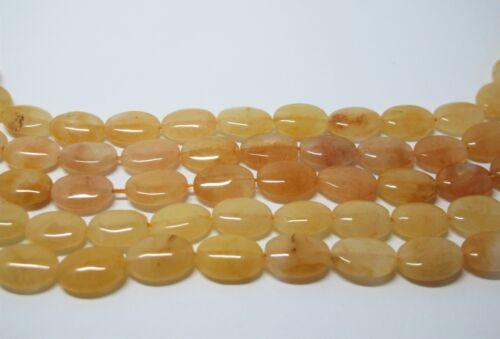 Full strand High luster Honey jade oval beads 10x14mm Creamy yellow jade