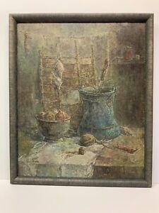 Original-Oil-Painting-On-Canvas-Signed-Armenian-Artist-Framed-21x25-Still-Life