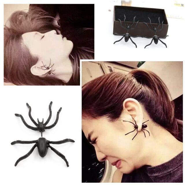 Fashion Punk Men Women's Black Spider Charm Ear Studs Earrings Jewelry 1pc