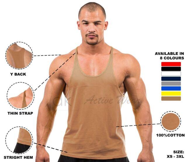 0d8ad607ac2a Mens Plain Bodybuilding Gym Stringer Vest Y Back Racerback Tank Top ...