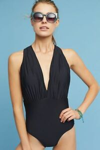 31f950984cc Image is loading New-Anthropologie-118-Zinnia-Plunge-One-Piece-Swimsuit-