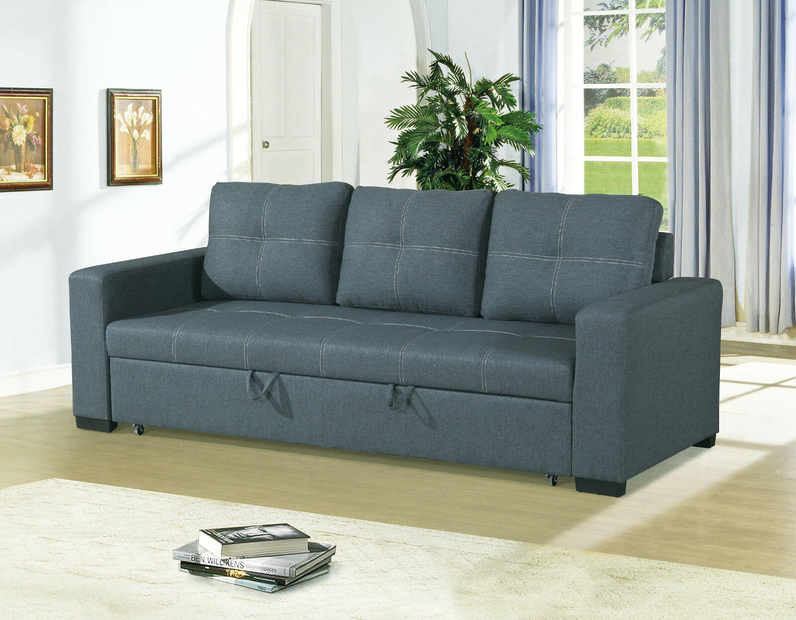 Fabric Sofa 3 Seater Armless Couch Bed
