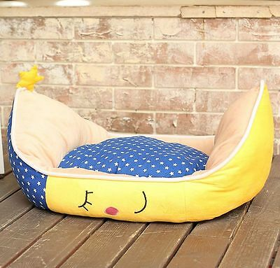 New Cute Yellow Moon Boat Pet Dog Cat Sofa Bed House Mat Coushion Kennel Size M