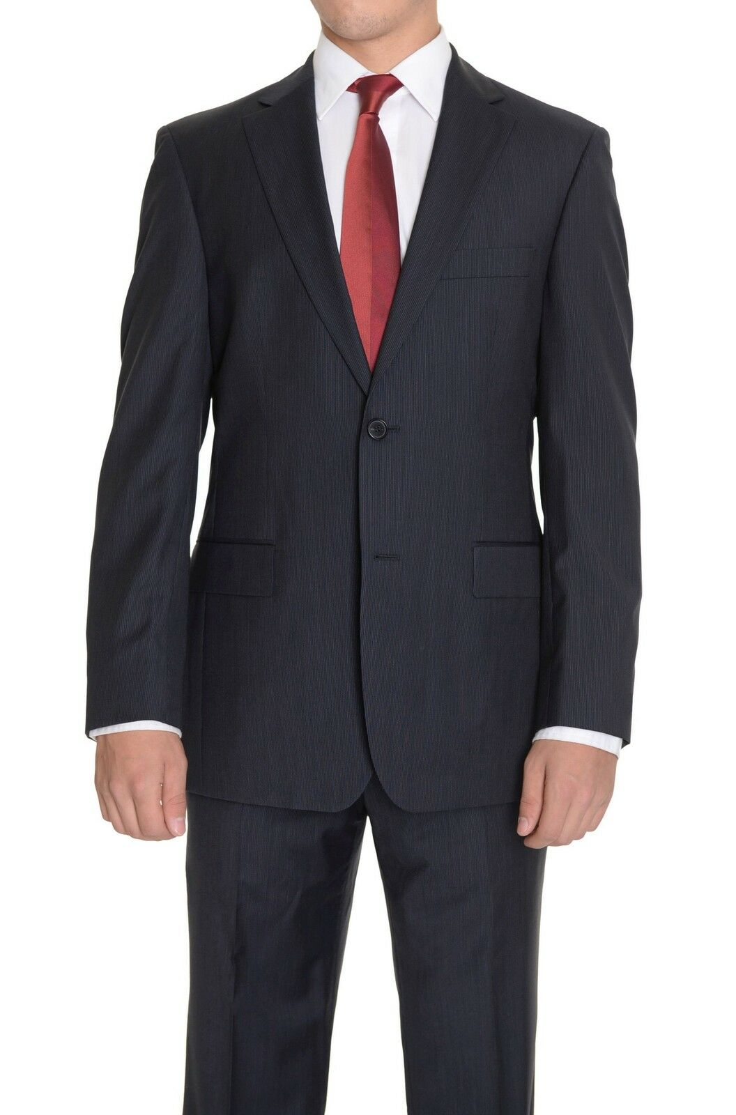 Hugo Boss The Grand/Central Navy Blau Pinstriped Two Button Super 100 Wool Suit