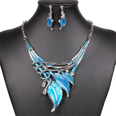 Fashion Lake Blue Leaf Lariat Y-Necklace Chain Necklace Earrings Jewelry Set