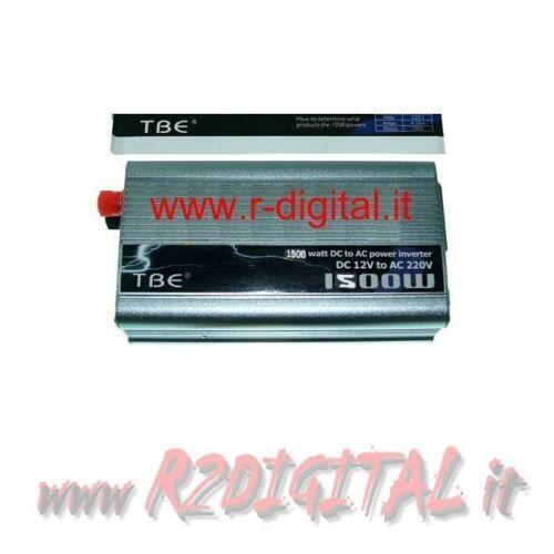 INVERTER 1500W 1500 WATT 12V 220V AUTO CAMPER CAVI PINZE ACCENDISIGARI BATTERIA