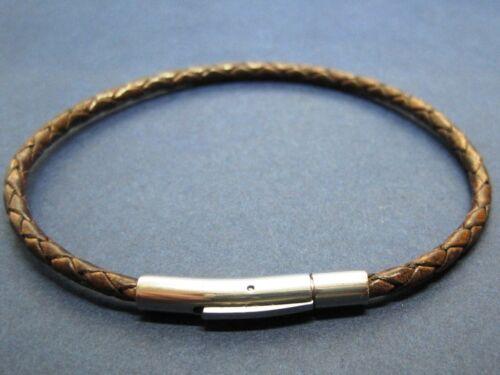 Lederarmband Leder 5mm antik dunkelbraun geflochten mit Klickverschluss