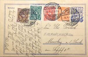 ALLEMAGNE-DEUTSCHLAND-16-4-1923-Mi-189-208P-225-226a-auf-Postkarte-P148aI