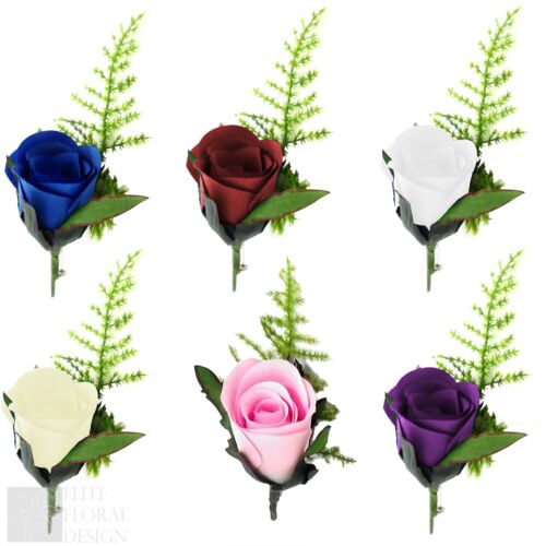 Artificielle Rose Romance Bouton Trou Avec lapel pin Groom Best Man