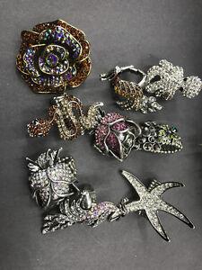 Wholesale-Jewelry-lot-10-pc-stretch-adjustable-rhinestone-crystal-mix-rings