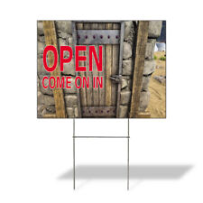 Weatherproof Yard Sign Open Come On In Outdoor Advertising Printing Lawn Garden