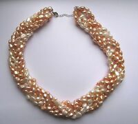 18 Freshwater White And Pink Pearl Statement Necklace Sterling Silver Findings