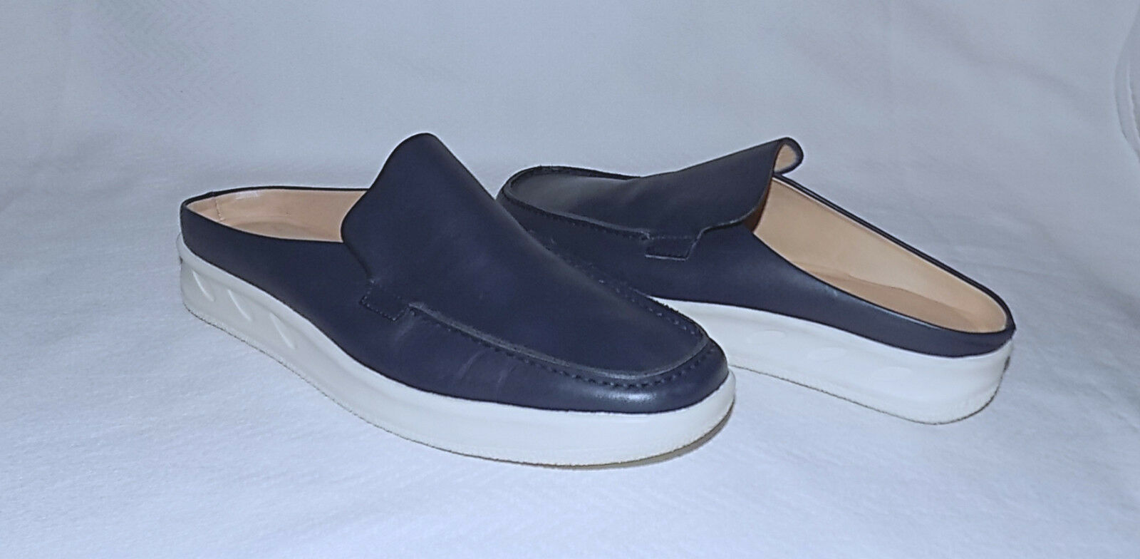 BALLY Switzerland - 100% Genuine Leather Slip On Clogs-Size 38.5   9 Usa-Navy