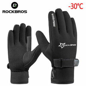 RockBros Cycling Winter Windproof Outdoor Sports Full Finger Black Gloves