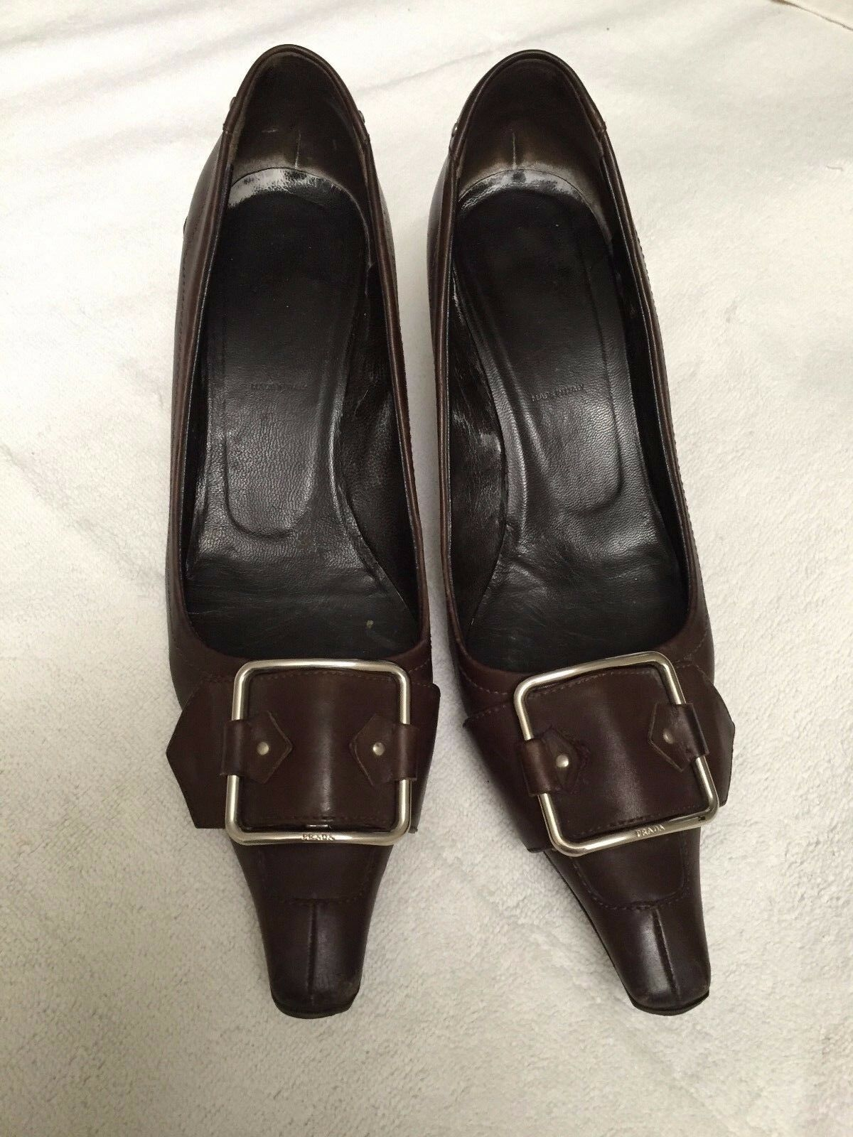 Prada Brown Pointy Kitten Heels Size 36.5