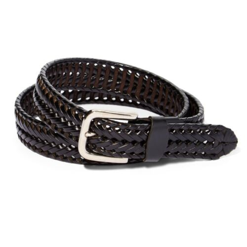 Men's Braided Leather Belt For Dress Work Or Casual Brushed Finish Metal Buckle