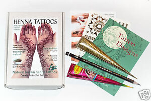 Henna Tattoo Gift Set Mehndi Kit Gold Glitter Many Designs Organic