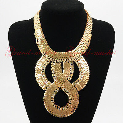 Fashion Gold Chain White Crystal Choker Chunky Statement Pendnat Bib Necklace