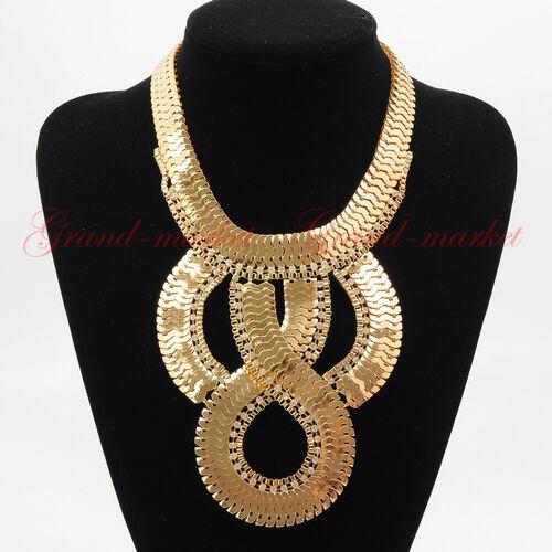 Fashion Gold Chain White Crystal Choker Chunky Statement Pendnat Bib Necklace