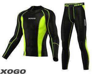 Mens-Compression-Shirt-amp-Tights-Set-Running-Base-Layer-Fit-Set-Gym-Skin-NEW