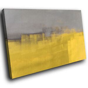 ZAB1598-Retro-Grey-Yellow-Modern-Canvas-Abstract-Home-Wall-Art-Picture-Prints