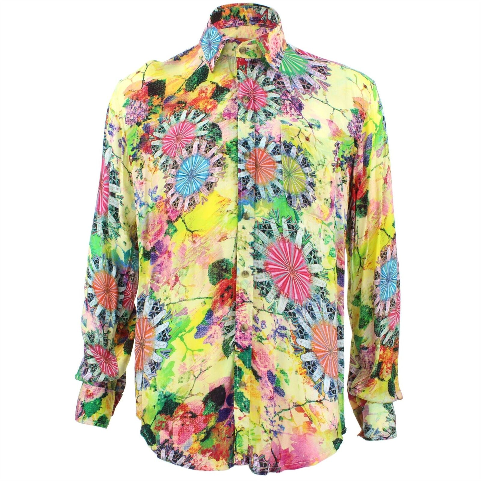Men's Loud Shirt Retro Psychedelic Funky Party TAILORED FIT Yellow Abstract