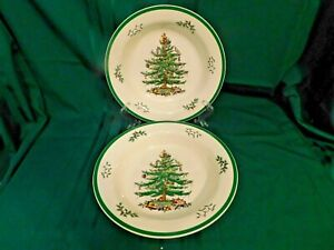 I2-Spode-England-Christmas-Tree-11-034-Pasta-Serving-Bowls-Lot-of-2