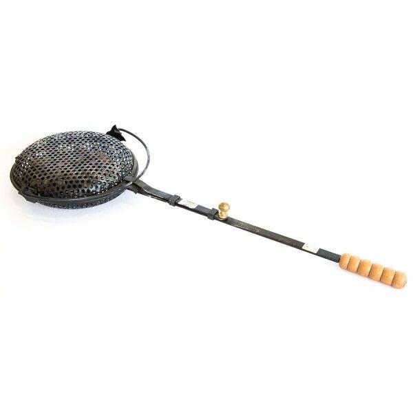 Padella pentola ferro gira castagne caldarroste manico in legno diametro 30 cm