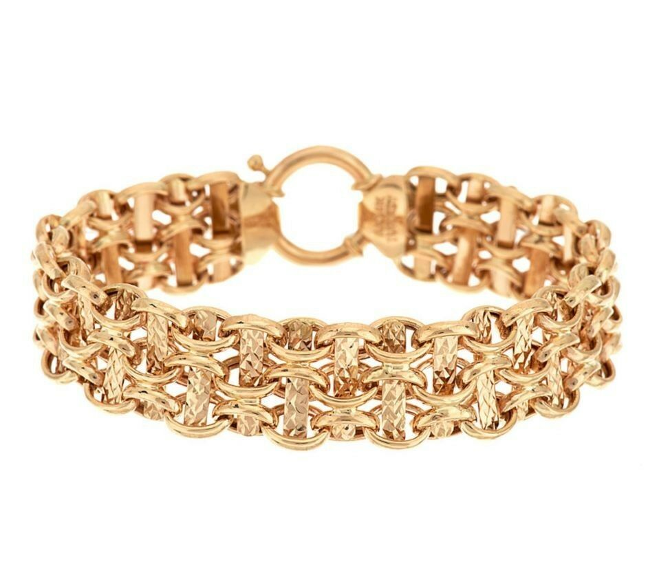 Polished & Diamond Cut Reversible Link Bracelet Real Solid 14K Yellow gold QVC