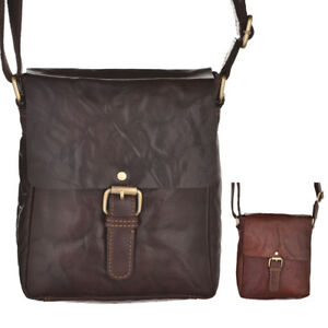 Mens Womens Small Vintage Leather Flap Over Shoulder Cross Body Bag ... b2567c77fe4b0