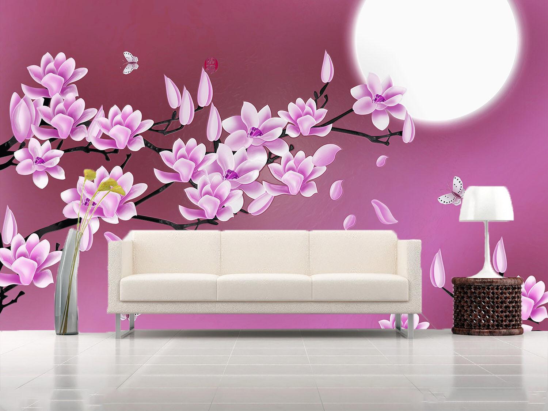 3D purple Blüten Mond 72 Tapete Wandgemälde Tapete Tapeten Bild Familie DE Summer