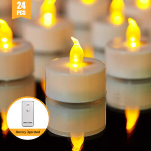 24-X-Tremolante-Senza-Fiamma-LED-CANDELE-LUMINI-TEA-LIGHTS-BATTERIA-operato