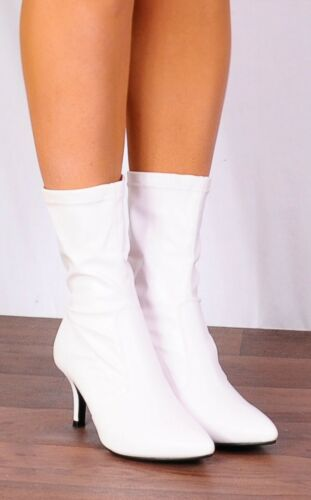 WHITE FAUX LEATHER SOCK STRETCH KITTEN HIGH HEELS ANKLE BOOTS SHOES SIZE 3-8