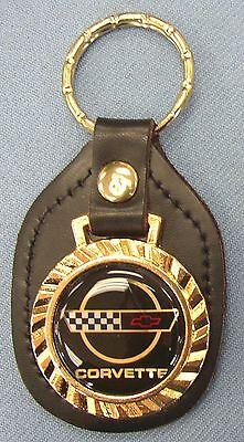 Vintage Black C4 CORVETTE Royal Classic Black Leather USA C 4 Goldtone Keyring