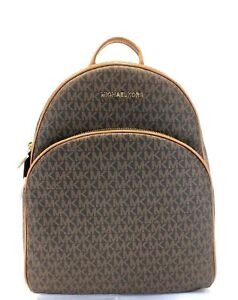 72ed2d9d9ee1 NEW WOMENS MICHAEL KORS ABBEY BROWN LARGE BACKPACK BOOK SCHOOL BAG ...