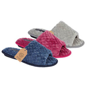 Ladies Womens Comfy Bobble Effect Soft Warm Mule Winter Open Toe House Slipper