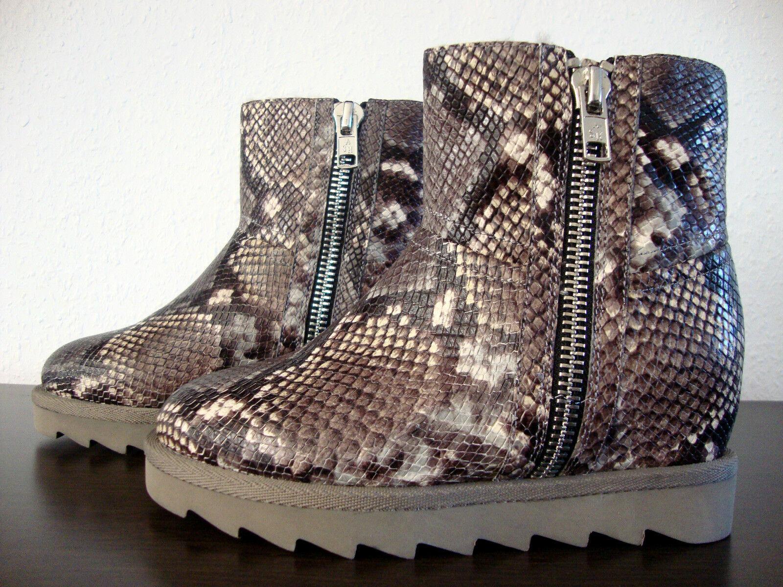 ASH YANG BIS Wedge Boots Damen Stiefelette Stiefel Leder Schuhe Pyhton Gr.37 NEU