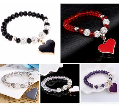 Purple or Black Shamballa Briolette Crystal Bracelet BB26 Royal Blue Red