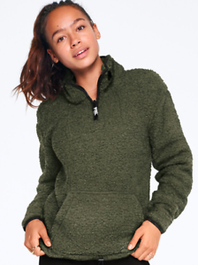 0a2e4167b3793 Details about NWT VICTORIA'S SECRET PINK SHERPA QUARTER ZIP OLIVE GREEN  COMFY PULLOVER TOP M