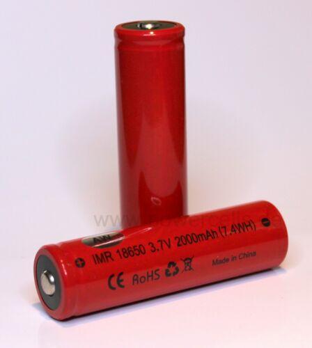 10A Entladestrom AW IMR 18650 2000 mAh 3.7V Li-Ion Akku erhöhter Pluspol max