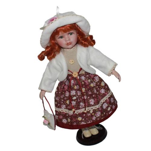 40cm Vintage Porcelain Girl Doll Figures in Coat Flower Dress Set Collection