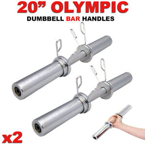Olympic-Dumbbell-20-034-Weight-Bar-Solid-Steel-Strength-Weight-Training-Barbell-x2