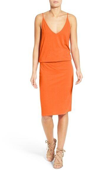 Pam Gela  orange Drop Waist Knit Blouson Dress.SZ S