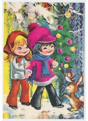 Immagini Natale Anni 70.Lucida Cartolina Vintage Anni 70 Bambini Decorazioni Albero Di Natale Coniglio Ebay