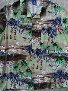 Vintage-Print-80s-Hawaiian-Shirt-Silky-Rayon-sz-L-md-in-U-S-A-Ocean-Pacific-GUC