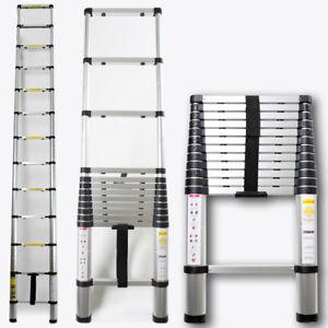 Escalera telescópica de aluminio 380 cm multiuso Escalera extensible plegable