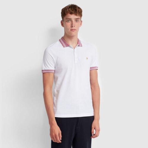 White Farah Mens Stanton Tipped Polo Shirt