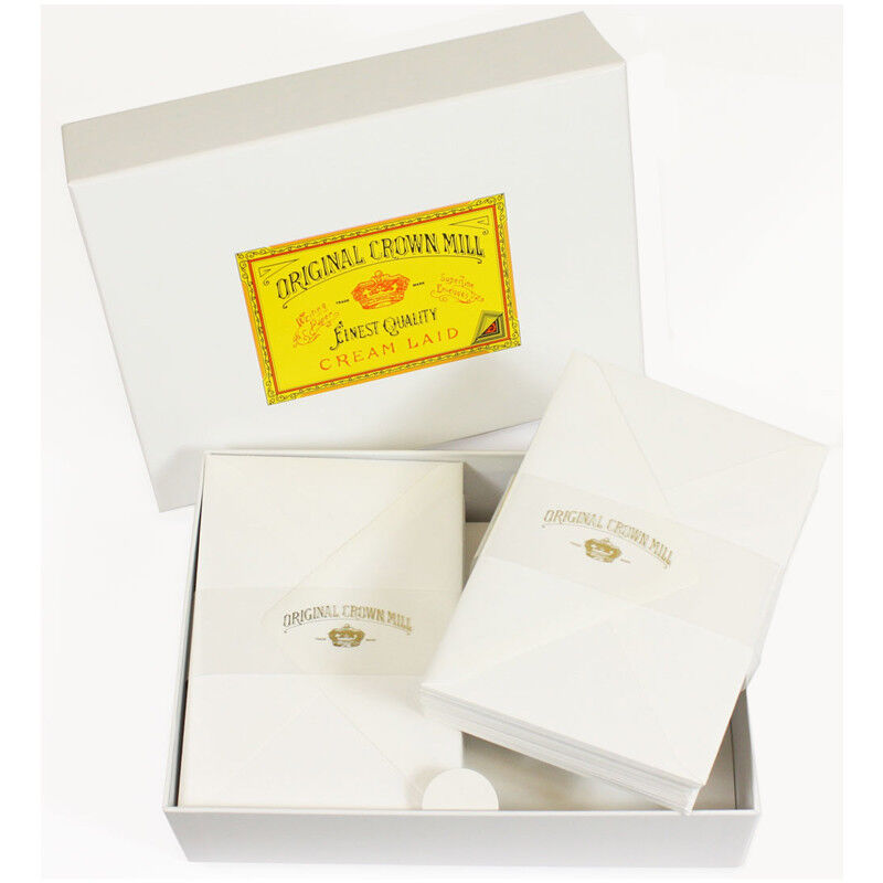 Crown Mill Luxury Letter Writing Paper Stationery Set   Box White NEW