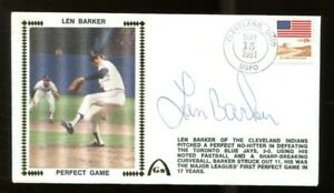 Len-Barker-Signed-FDC-First-Day-Cover-Autographed-Indians-56206